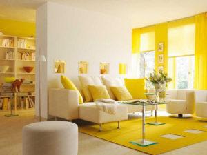 sơn phòng khách màu vàng nhạt đẹp